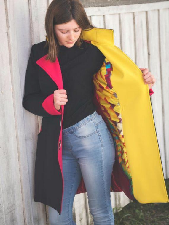 manteau néoprène noir coloré