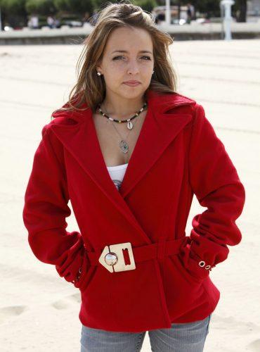 Veste en velours de laine rouge