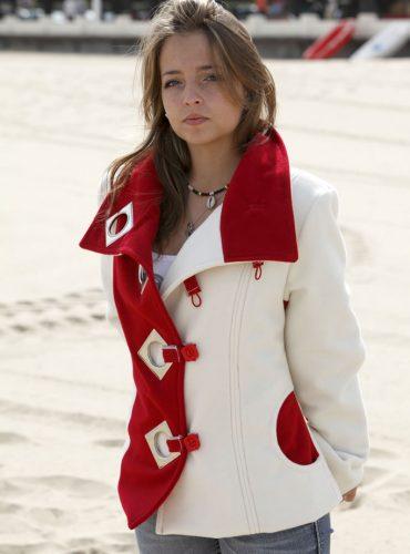 Veste en velours de laine bi-couleurs