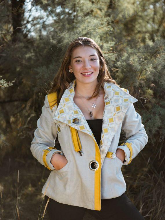 Veste en toile beige et jaune