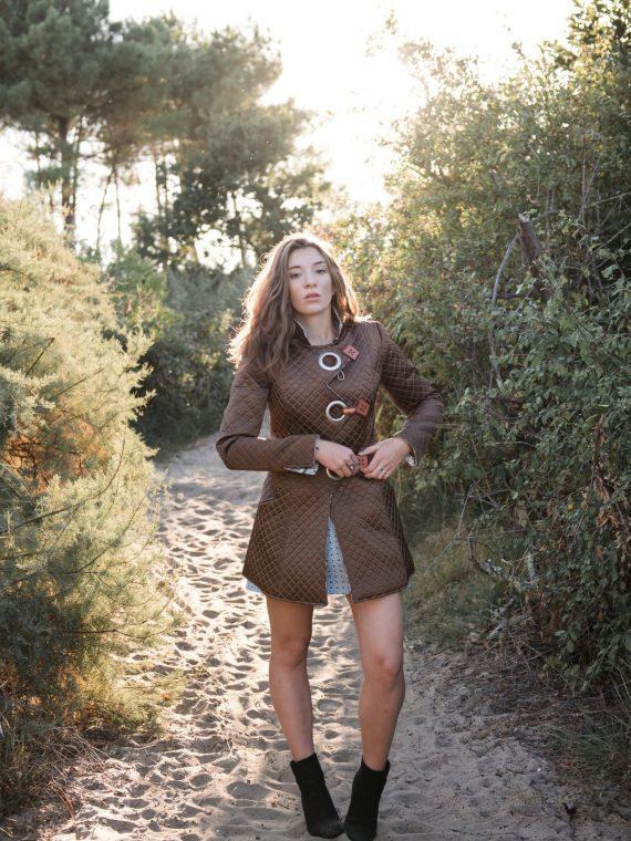 Manteau 3/4 réversible côté marron